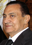 Egyptian President Hosni Mubarak looks o