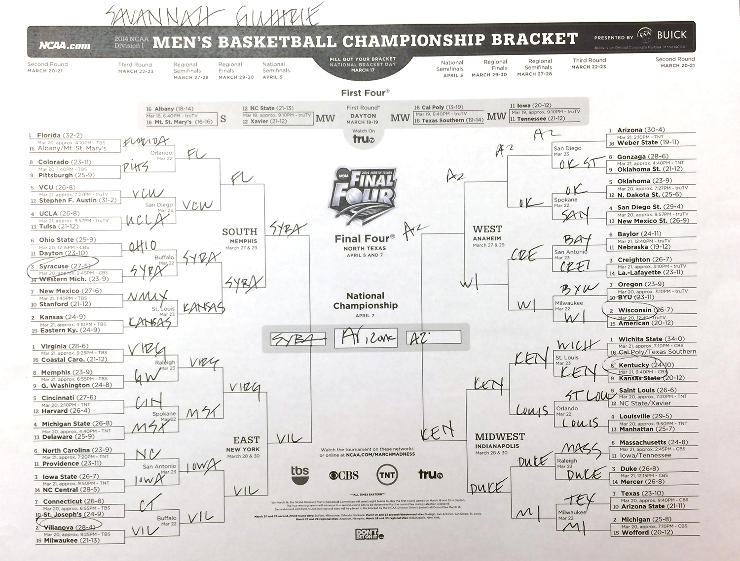 Al Wins Today Anchor Ncaa Bracket Challenge Compare Yours