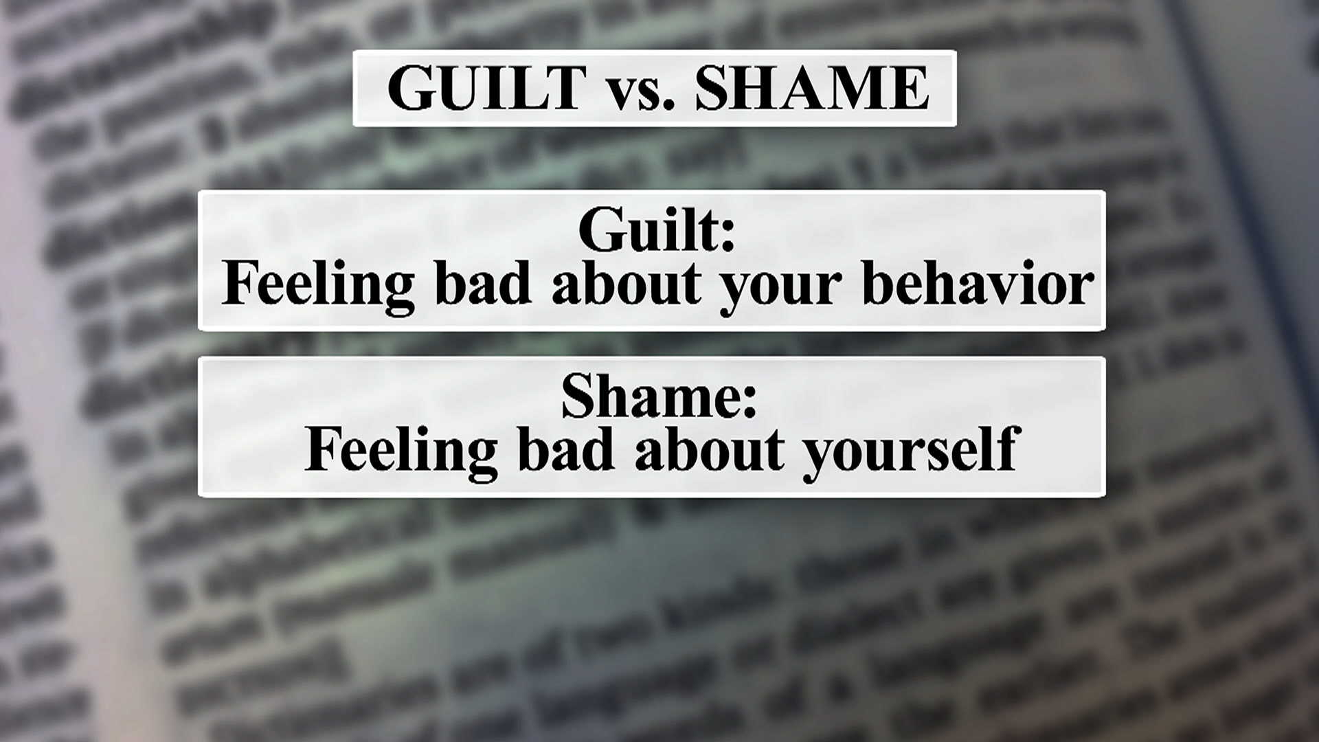 guilt and shame in who you While people generally use the words 'guilt' and 'shame' interchangeably, they actually refer to different experiences shame concerns painful feelings about oneself.