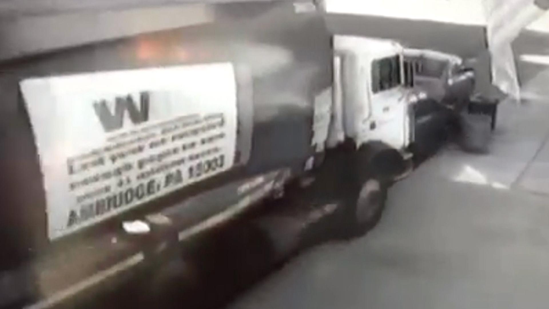 Runaway Garbage Truck Crash  Cars