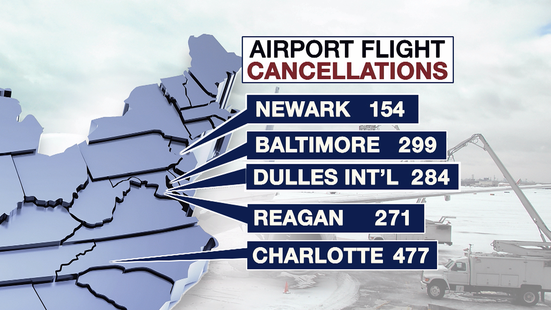 Thousands of flights canceled as winter storm slams the South, heads east