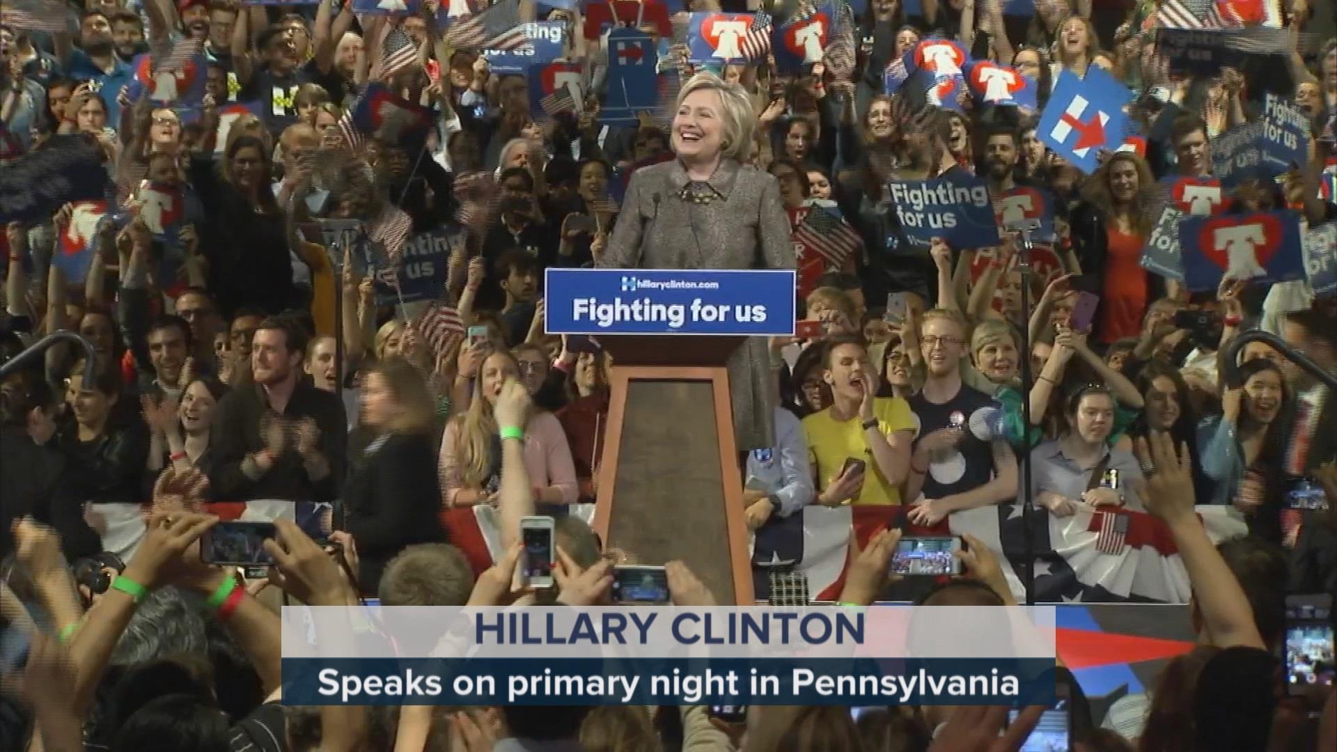 Clinton celebrates 'significant' PA win