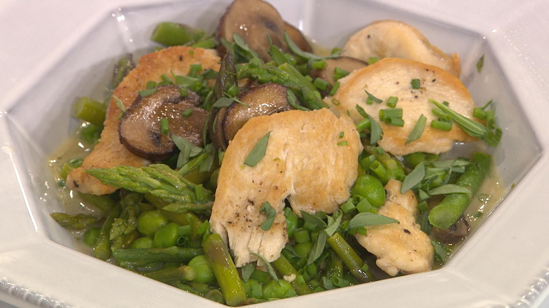 Chicken And Spring Vegetable Toss Recipe — Dishmaps