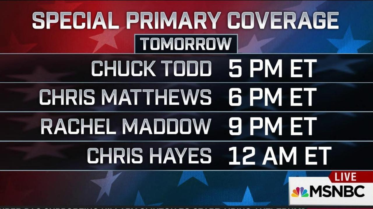 Programming note! Tuesday primaries run late