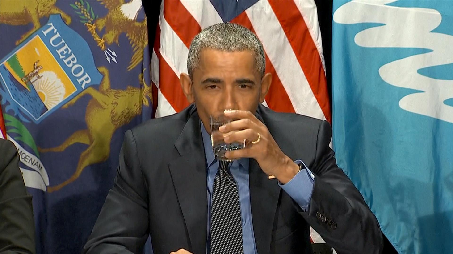 President Takes A Drink Of Water