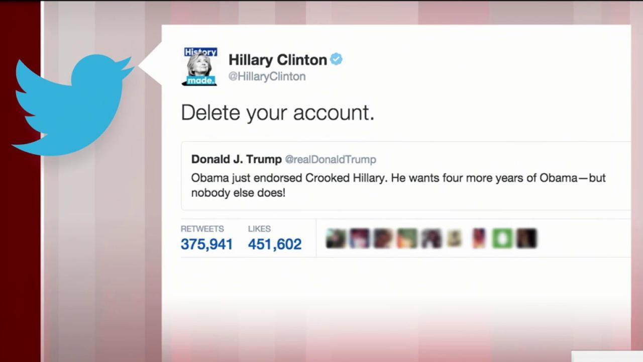 Clinton trolls Trump on Twitter