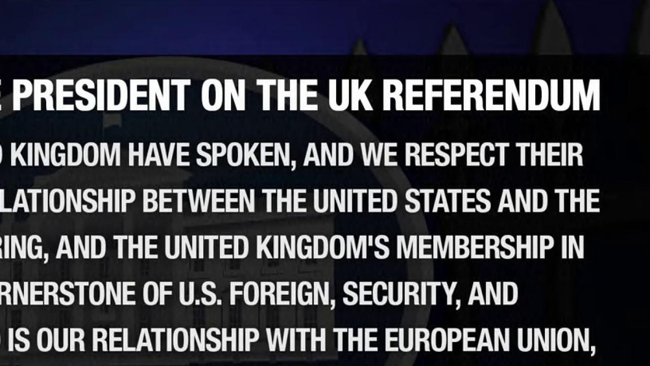 Obama releases statement on Brexit