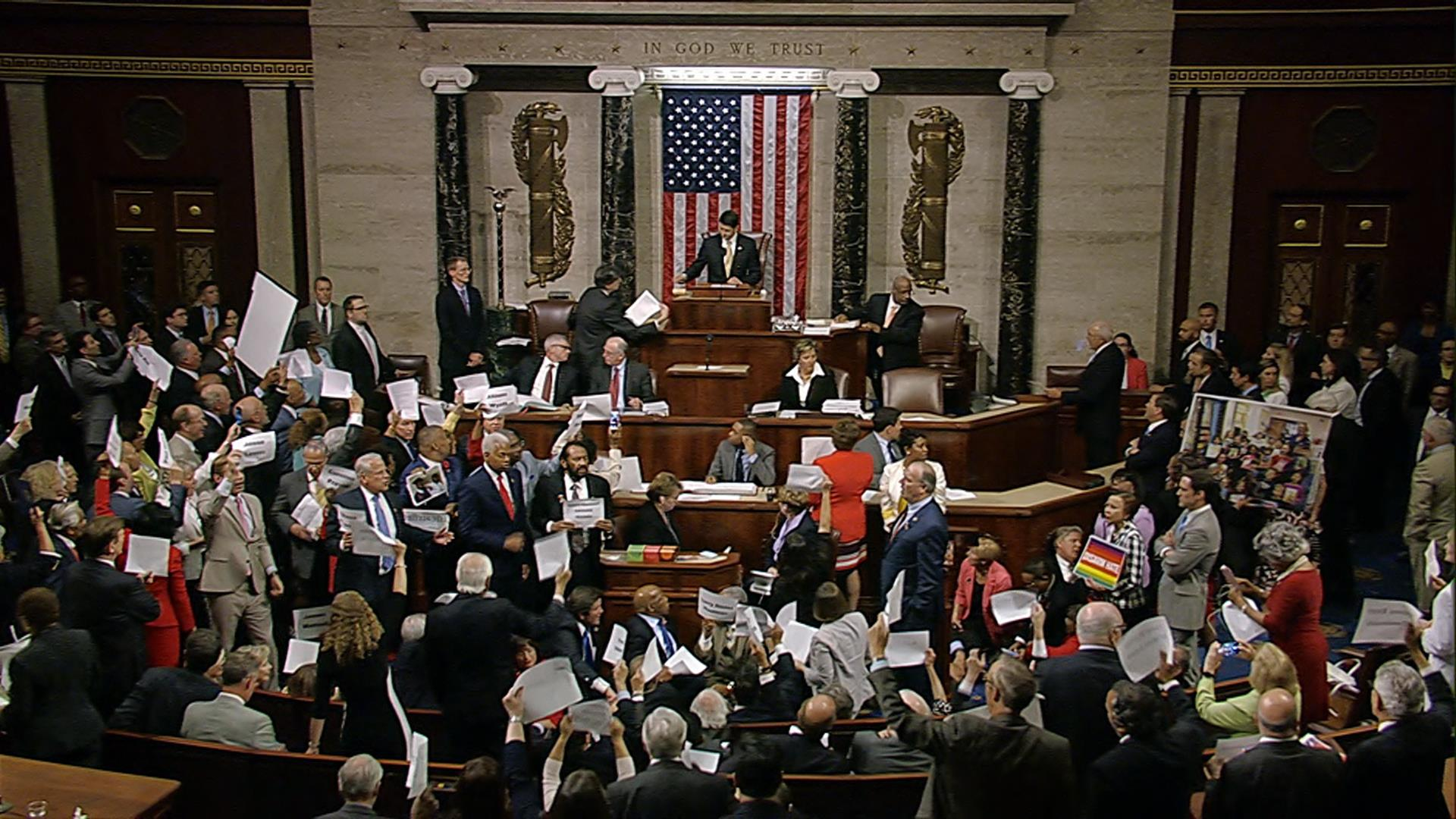 spirit of history': house democrats hold sit-in on gun control