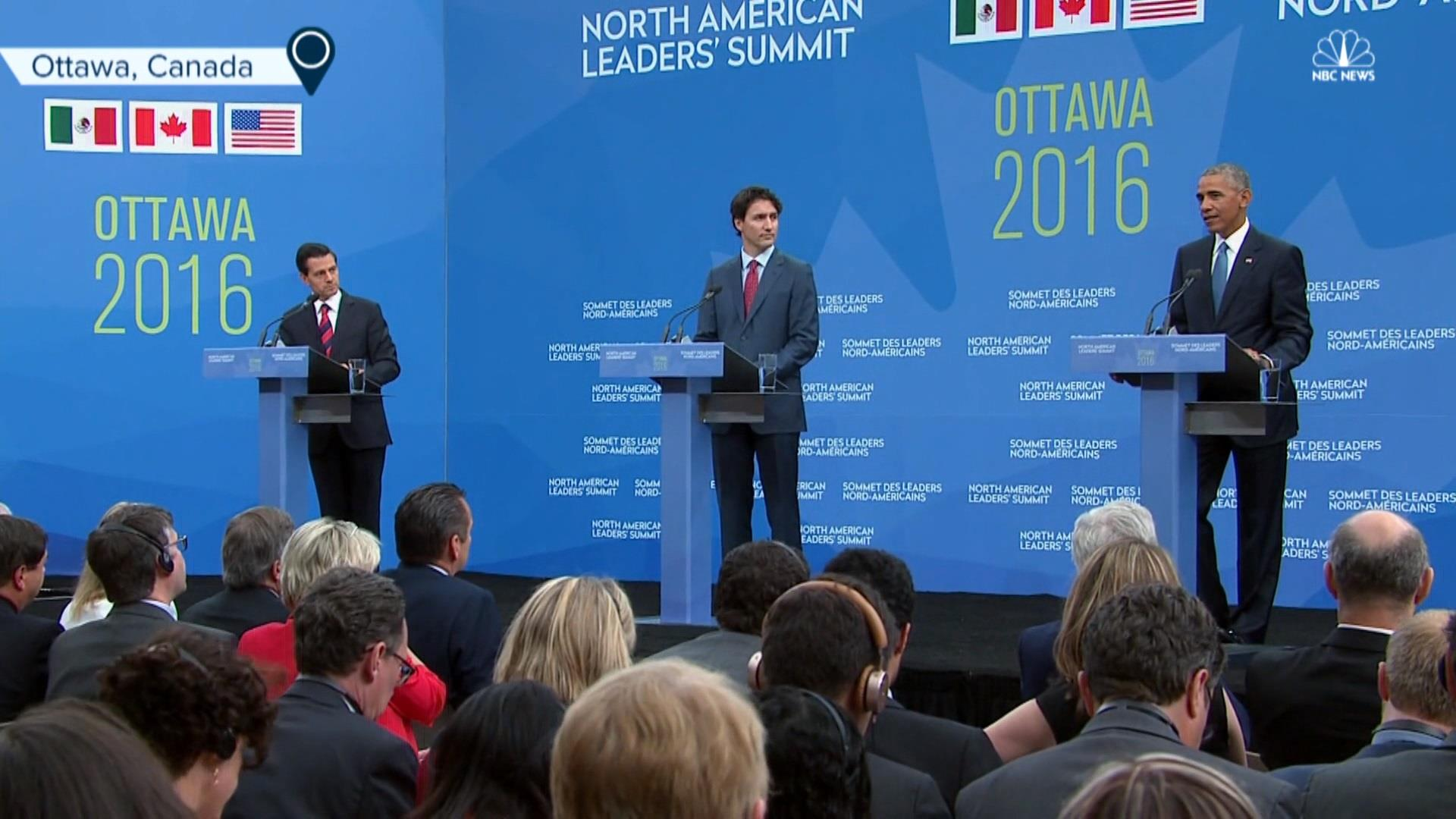 Trudeau, Obama discuss North American unity
