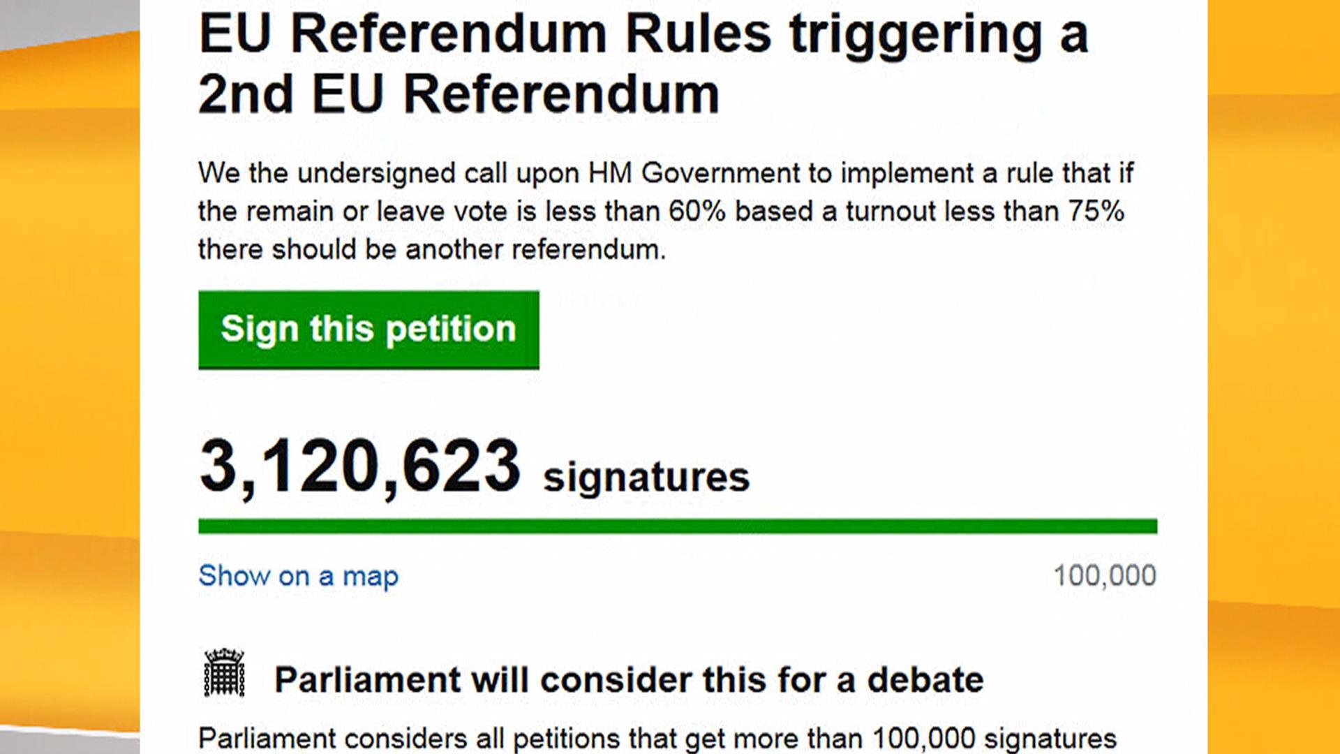 Brexit do-over? Millions sign petition for second referendum