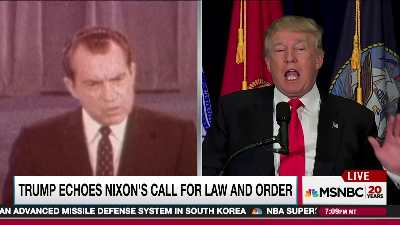 Trump resurrects fearful Nixon themes