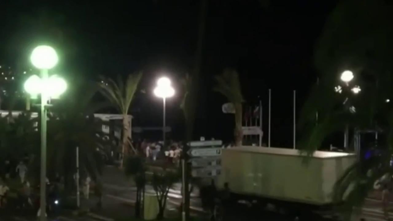 New footage of truck driving into crowd in...