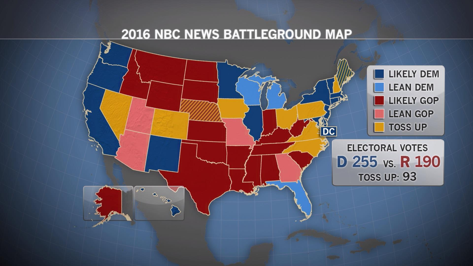 clinton trumps trump in new nbc map with clinton and trump map