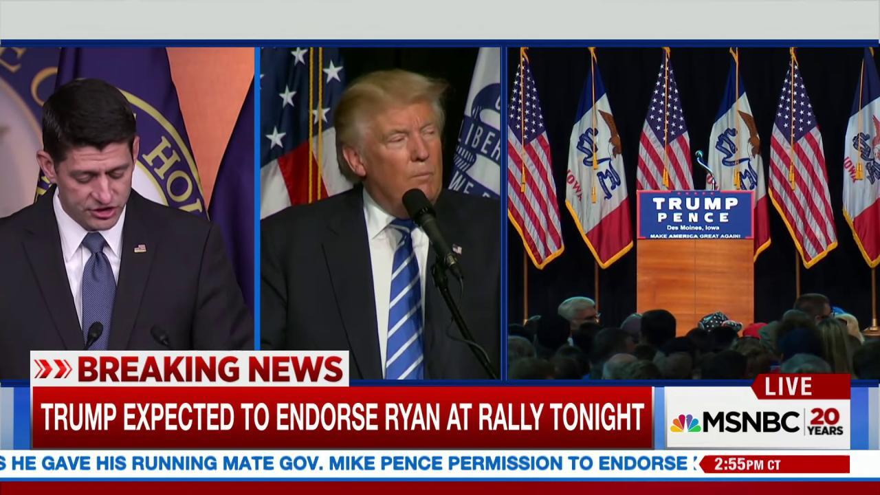Donald Trump expected to endorse Paul Ryan