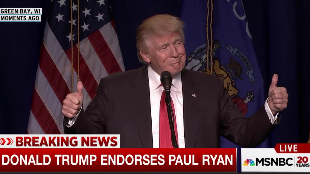 Trump reads endorsements of Ryan, McCain