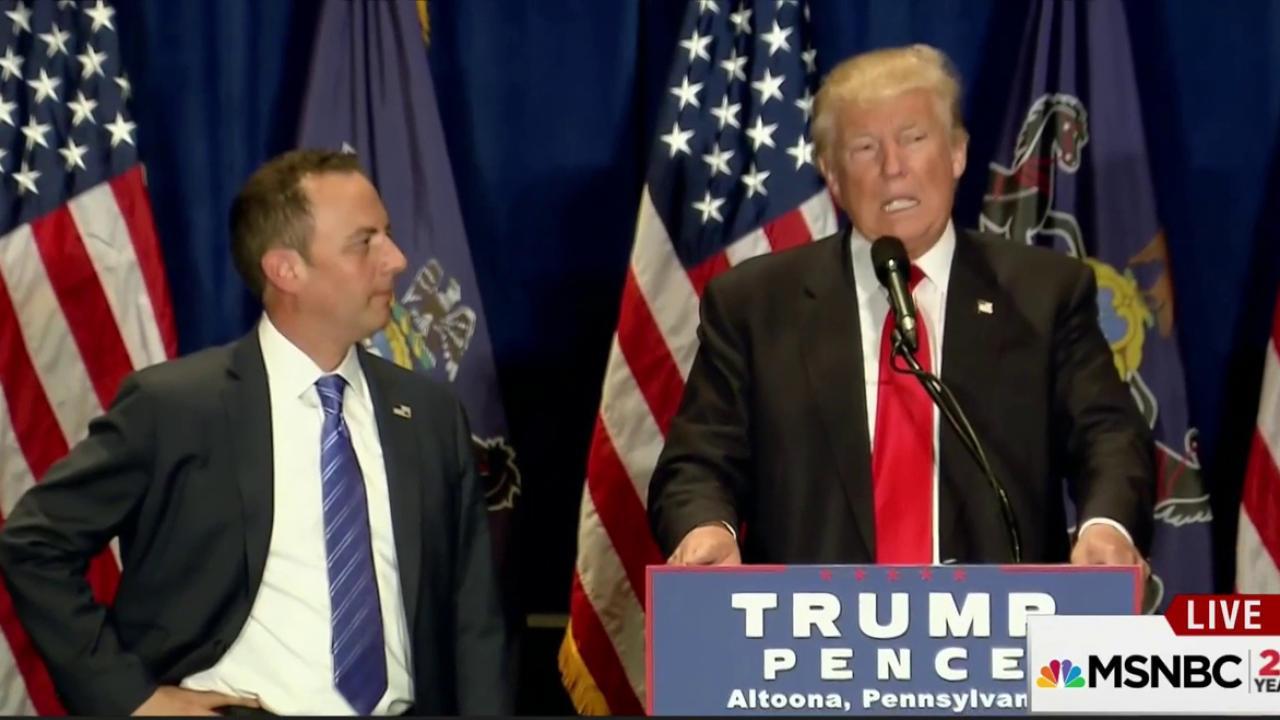 Trump, Priebus rush to make show of unity