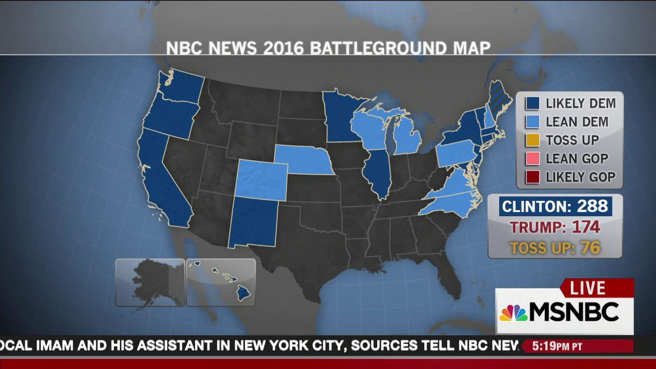 Presidential Election News Polls Results More NBC News - Us elections map 2016 live