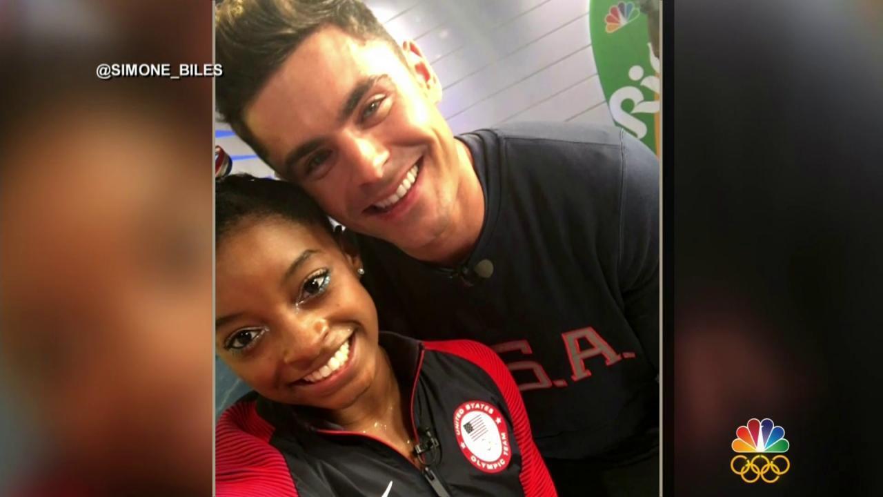 Simone Biles Meets Zac Efron in Rio