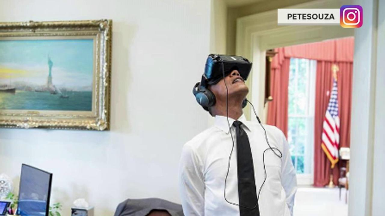 See what the internet did to a photo of President Obama wearing VR goggles