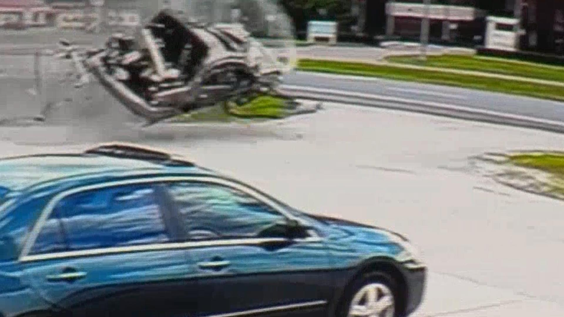Shocking Car Crash Caught on Surveillance Camera