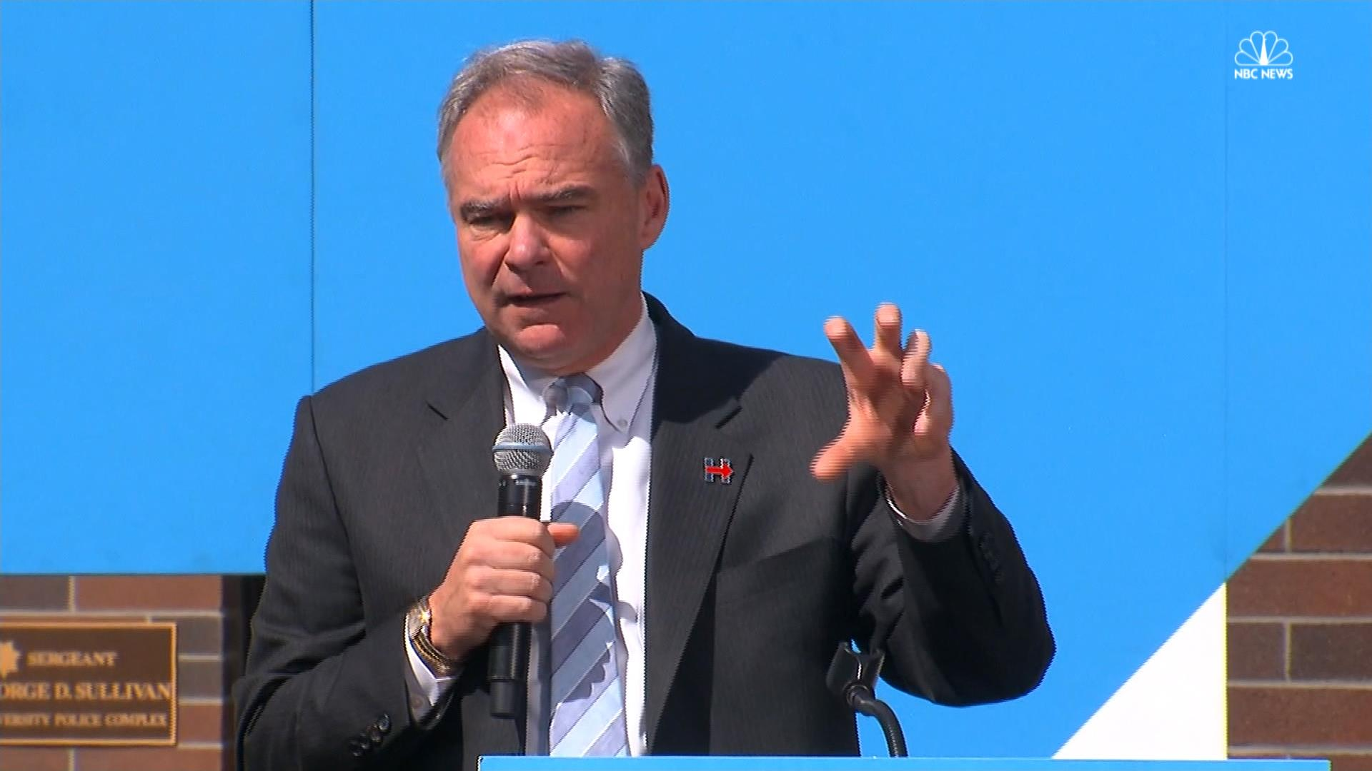 Tim Kaine calls for 'community policing'