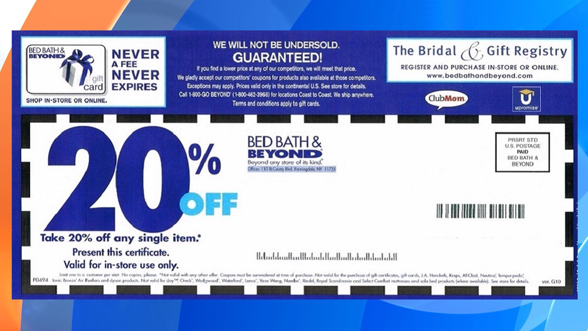 "Redeeming a promo code at Bed Bath and Beyond is simple. At Bed Bath and Beyond, you can simply make use of your chosen discount as such: Press ""Get Coupon"" for the desired offer. You will automatically be taken to the Bed Bath and Beyond store.5/5(1)."