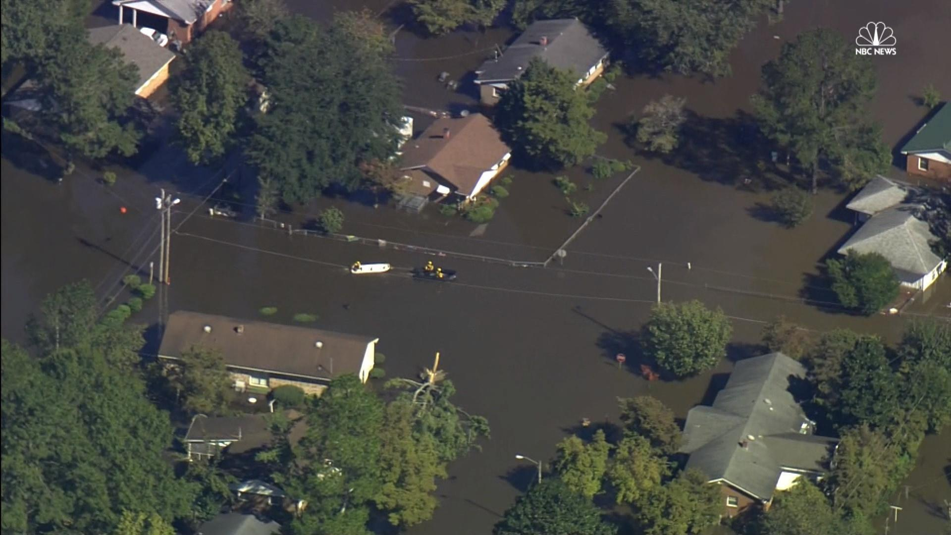 Aerial Footage Shows Extensive North Carolina Flooding