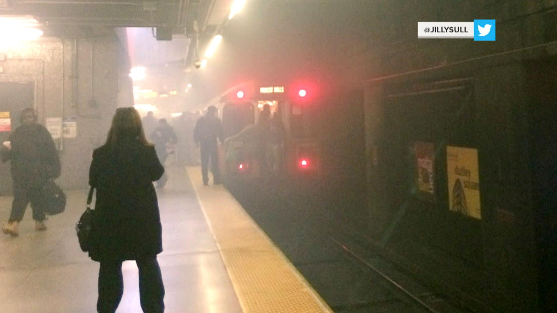 Boston subway train fills with smoke; commuter describes smashing window to escape
