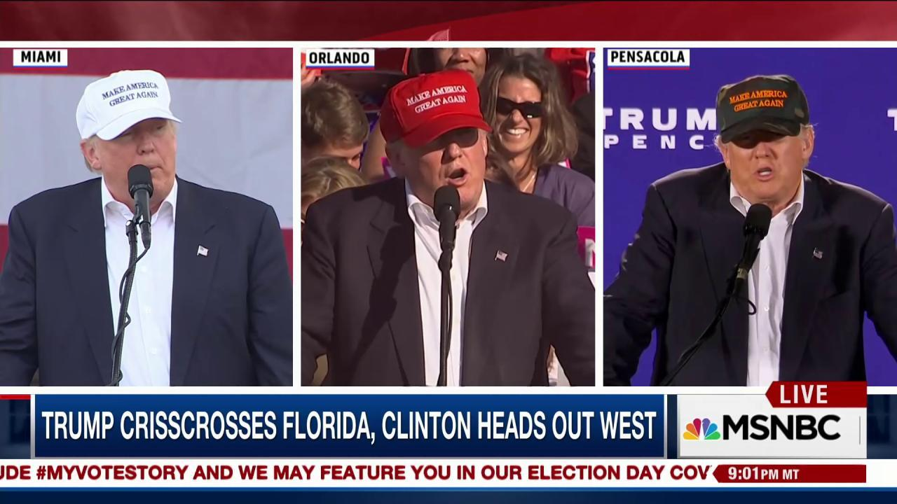 Trump crisscrosses Florida with Clinton out West