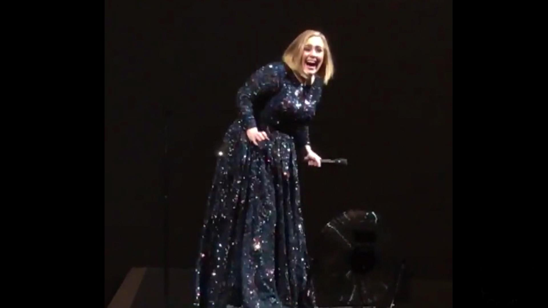 Watch Adele Freak Out After Seeing Bat at Concert