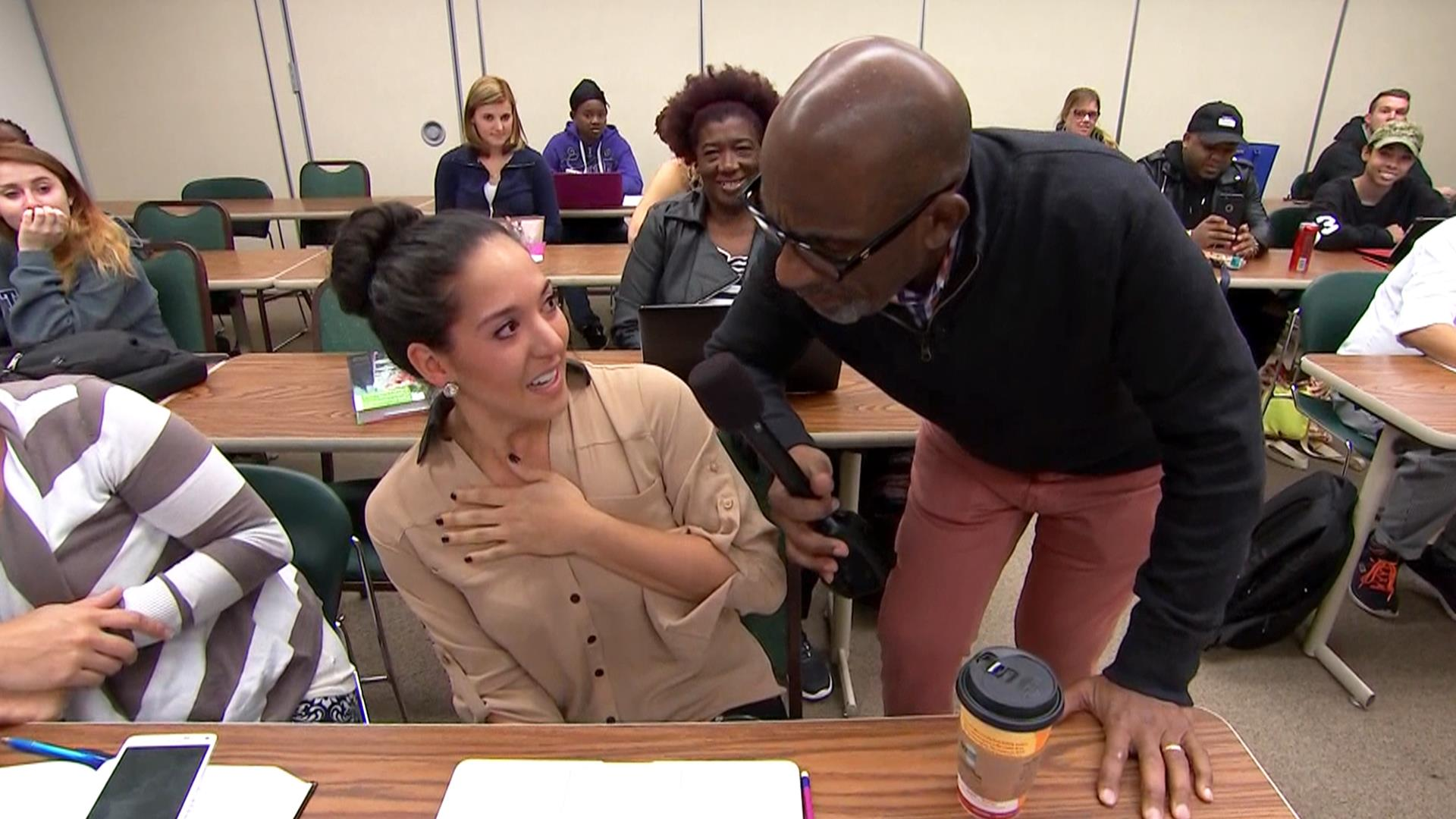 See culinary student get a big surprise during class