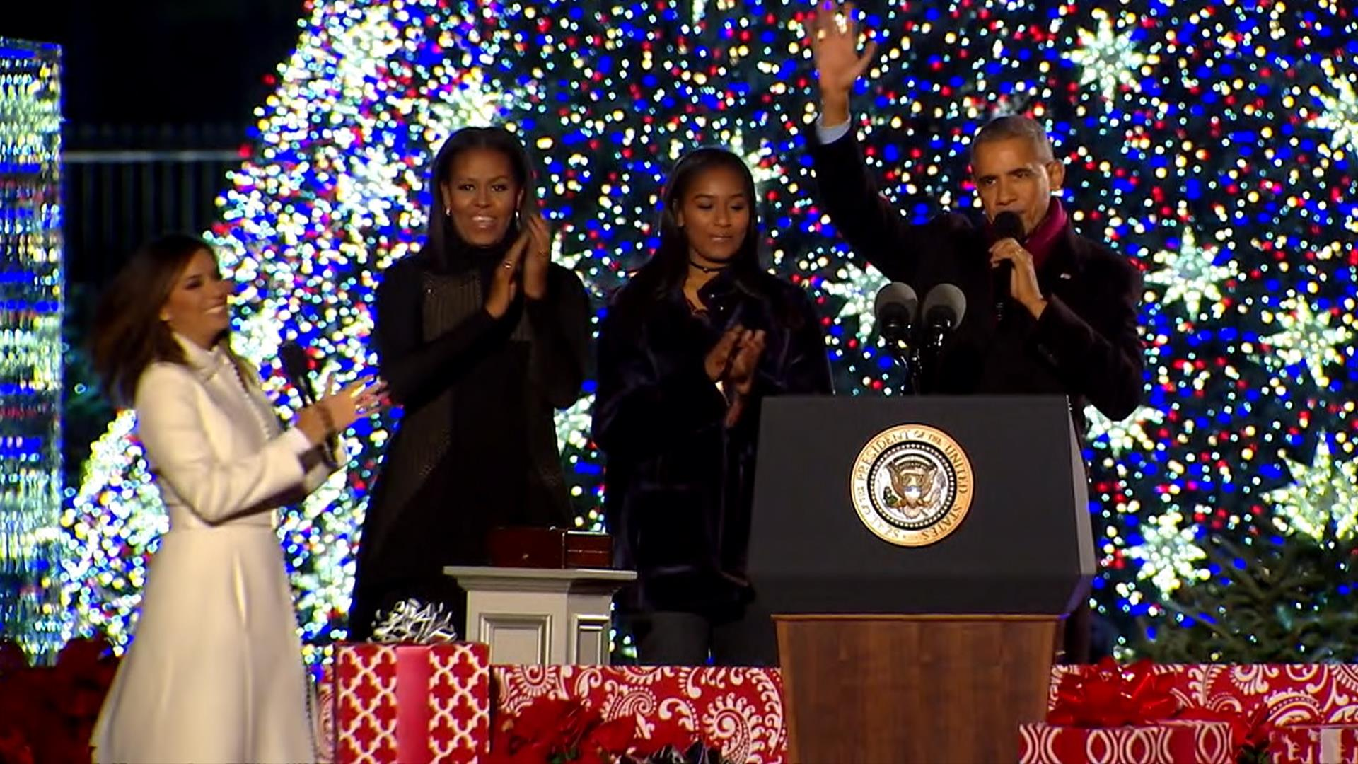 The Obamas Light National Christmas Tree for the Final Time