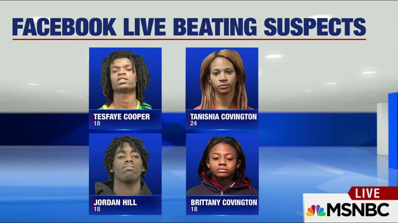 4 charged in beating streamed on Facebook...