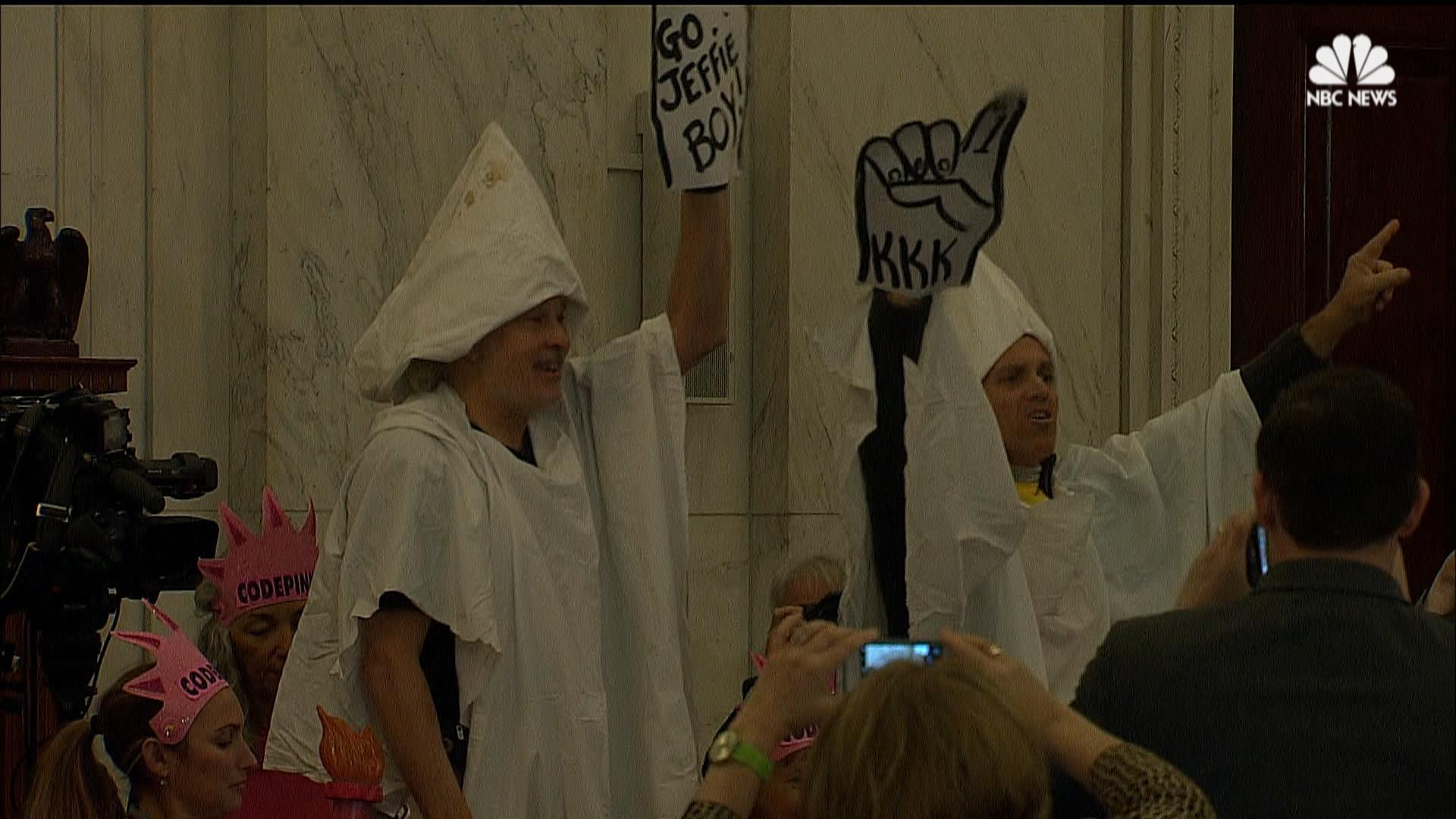Protesters Dress in KKK Garb to Protest Jeff Sessions at ...