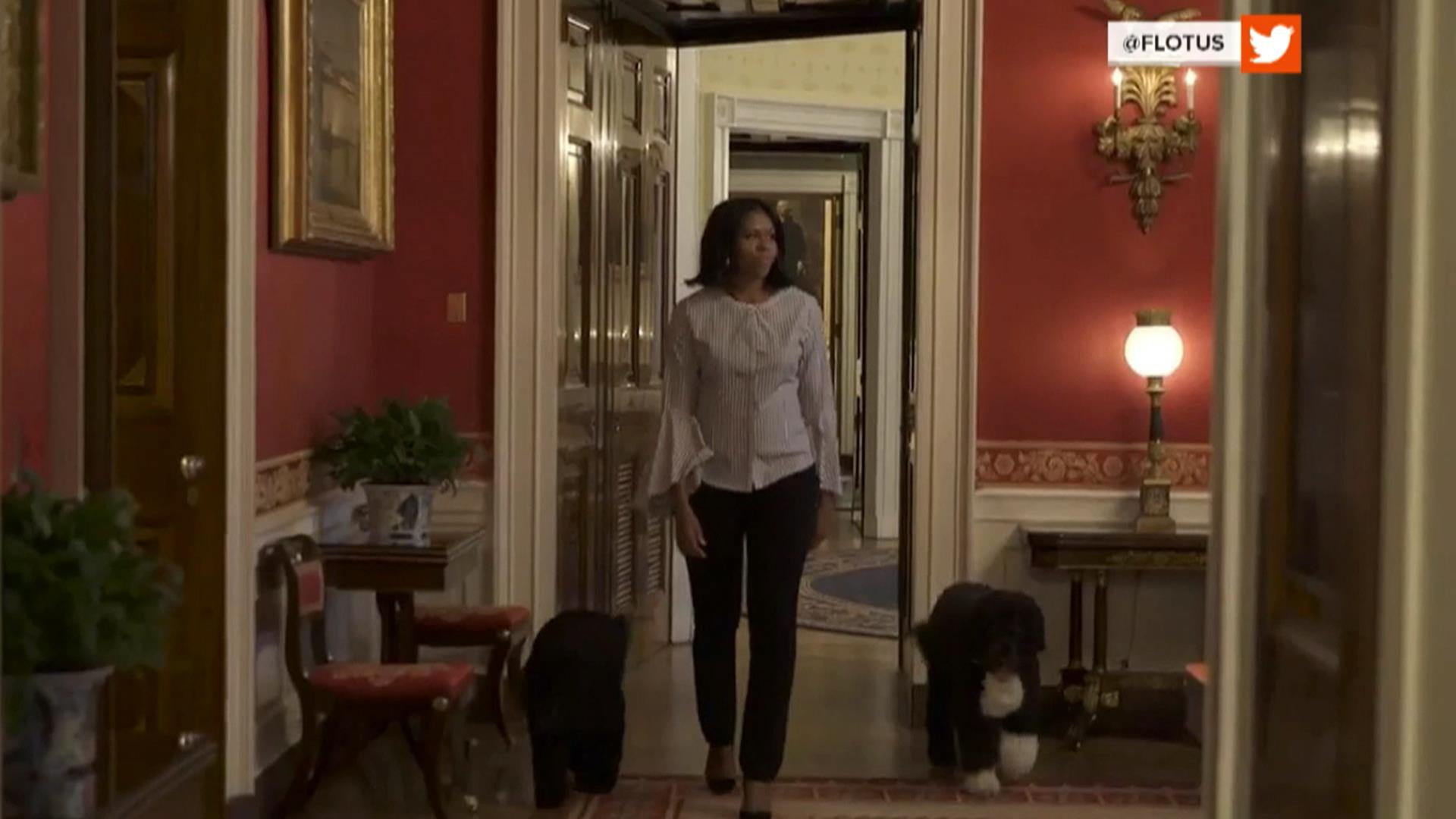 Michelle Obama Bids Farewell Posts Video Of Herself With Sunny And Bo