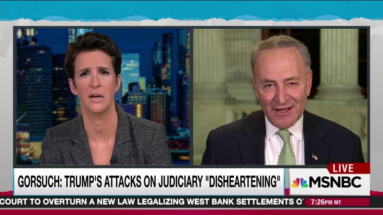 Schumer slams weak Gorsuch criticism of Trump