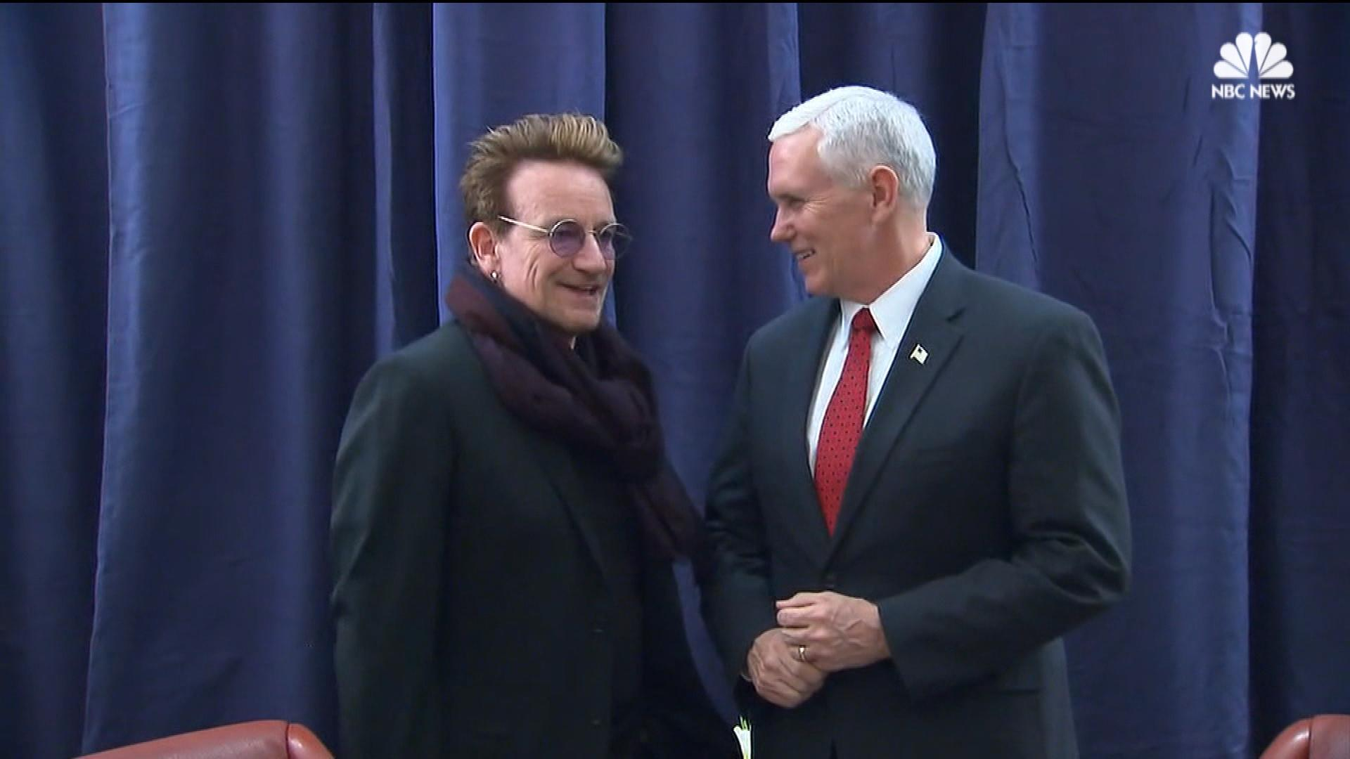 Bono Greets VP Pence at Surprise Meeting in Germany - NBC News