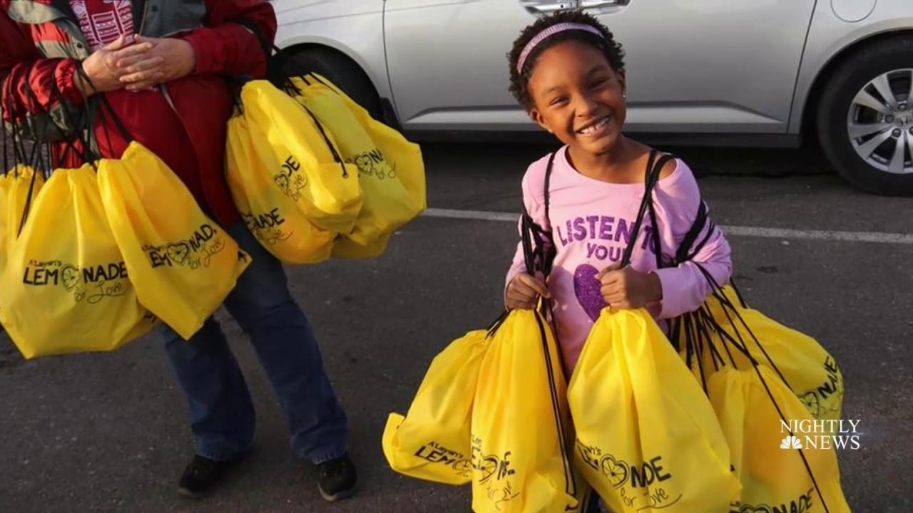 Inspiring america 6 year old donates lemonade money to for Lemon shaped lemonade stand