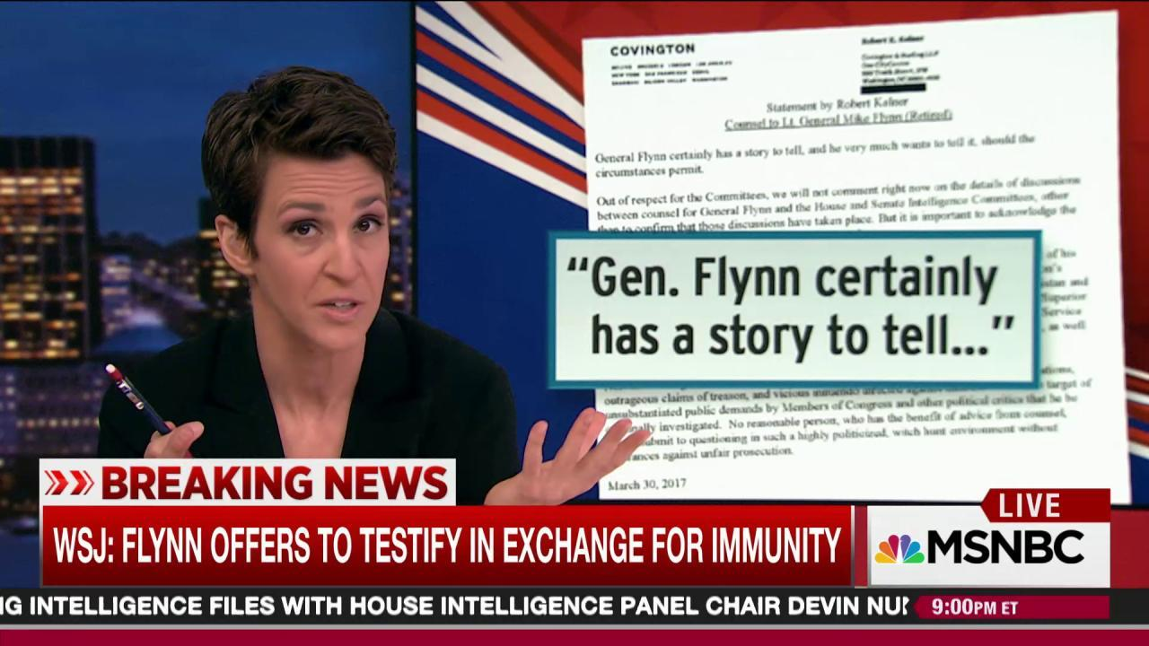 Flynn testimony offer jolts Trump Russia case