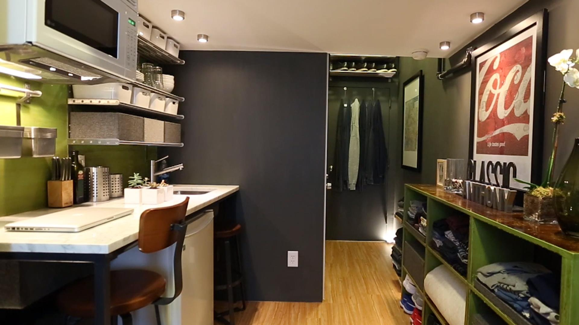 see how one man lives in a 150 square foot apartment. Black Bedroom Furniture Sets. Home Design Ideas