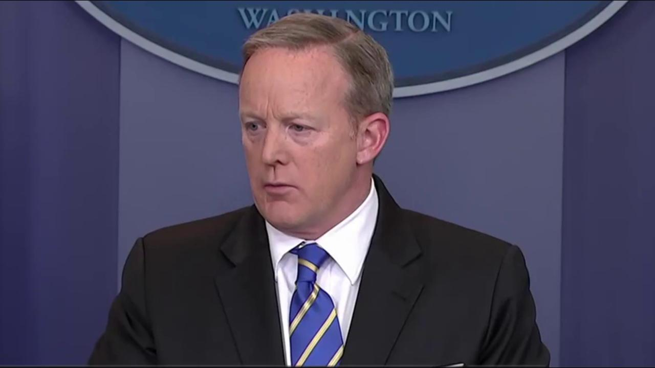 No answers from Spicer about Trump's tweet...