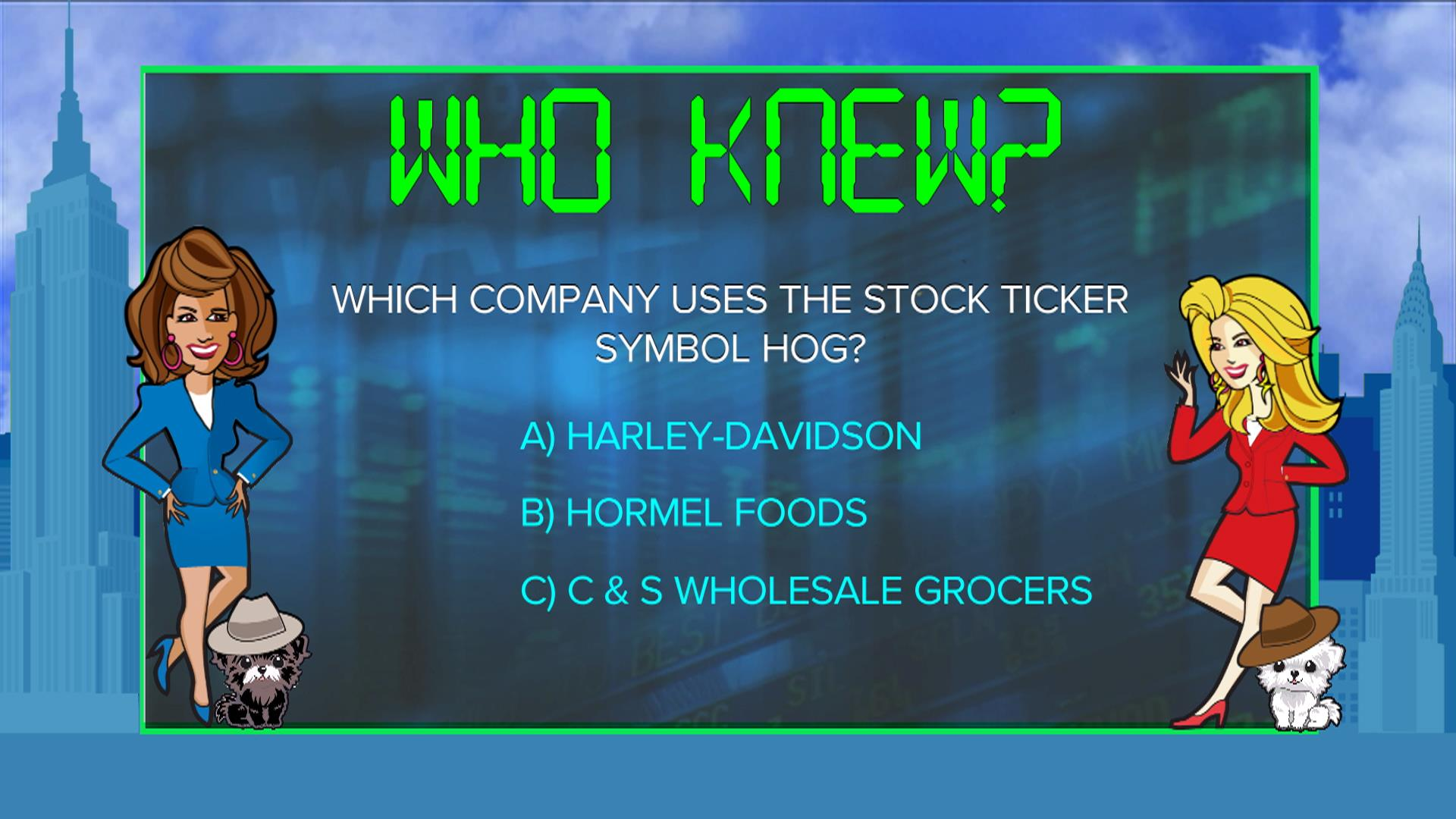 Which company uses the stock exchange symbol hog nbc news biocorpaavc