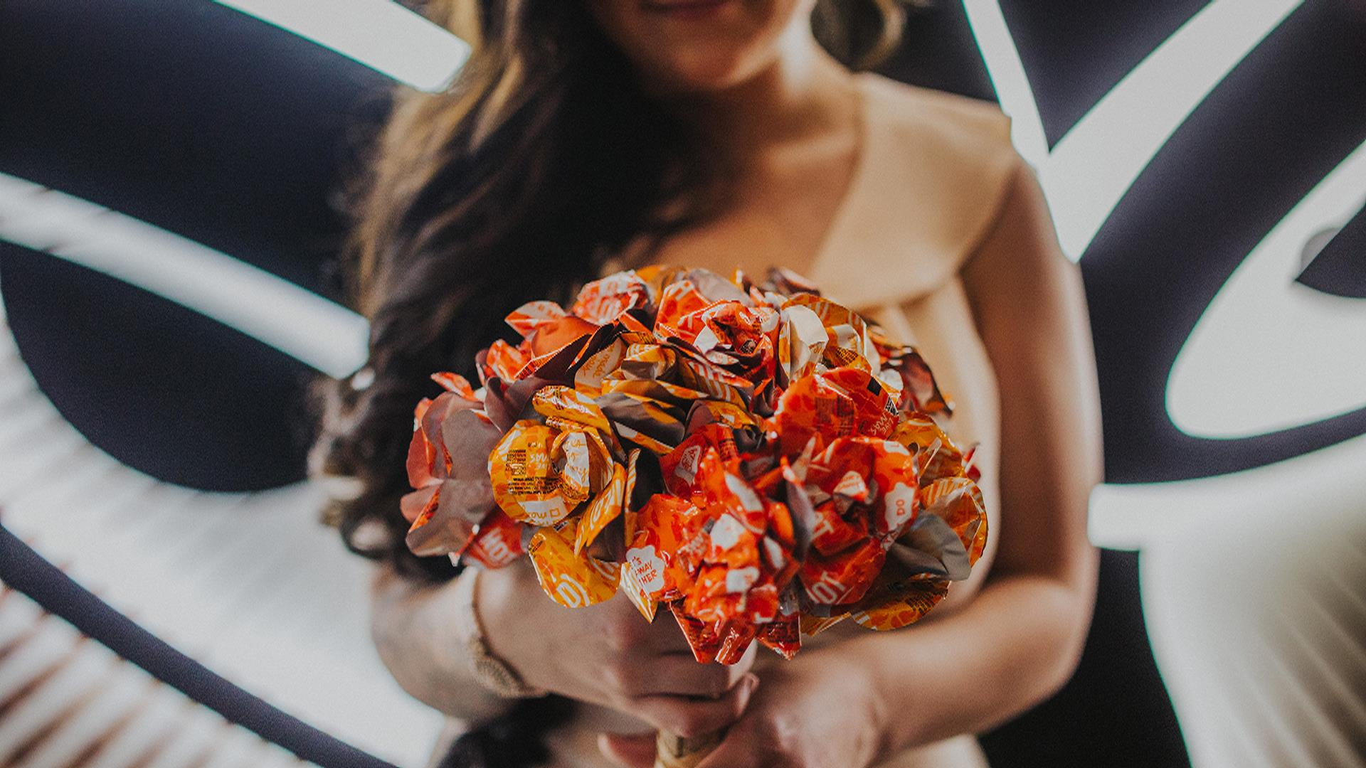 Talk about cheesy! This couple just got married at Taco Bell