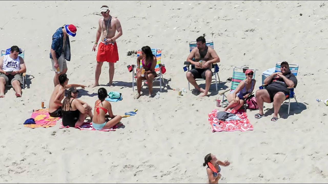 Christie vacationing on closed beach...
