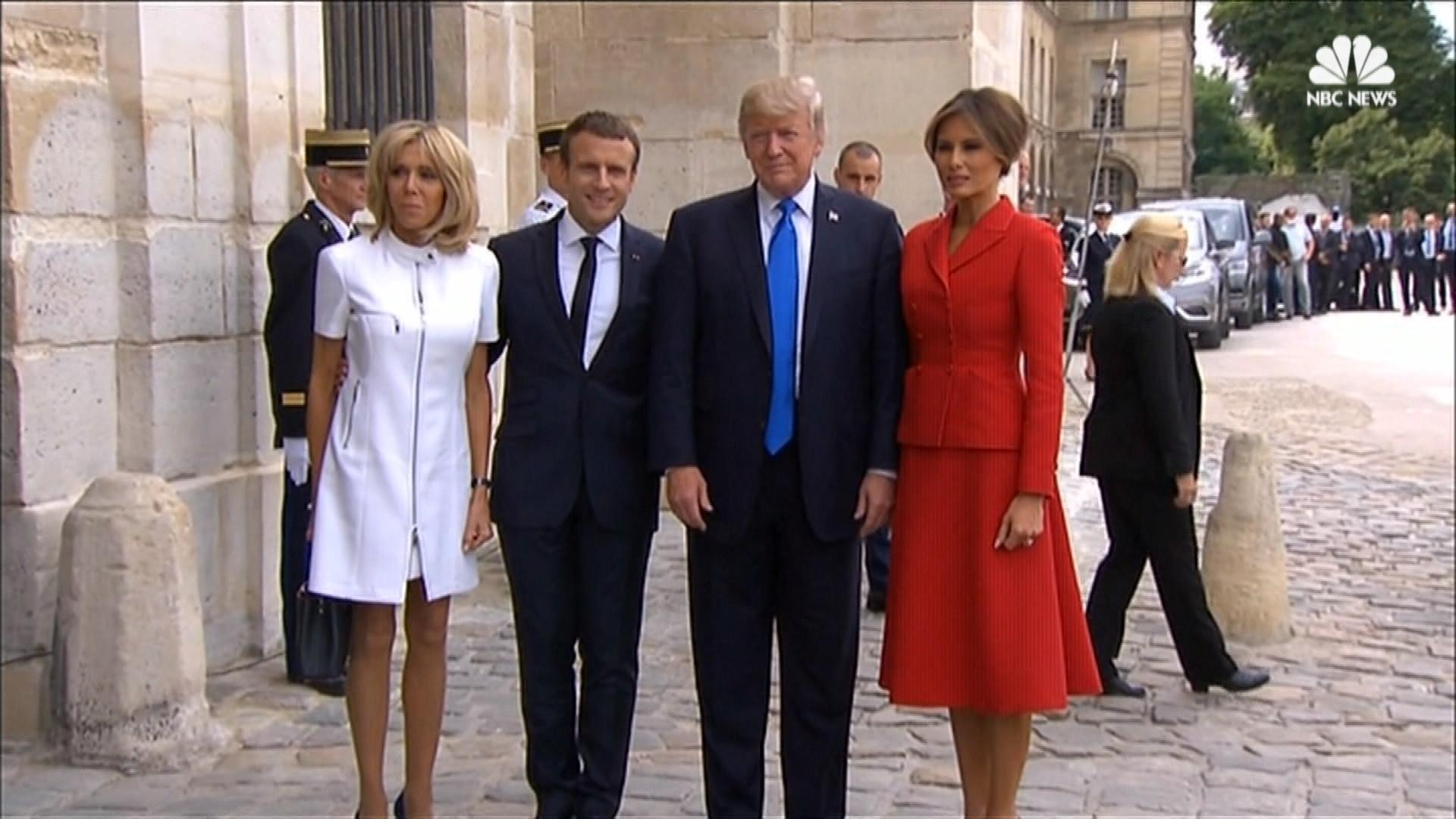 Trump, Macron Attend Welcome Ceremony Events in Paris ...