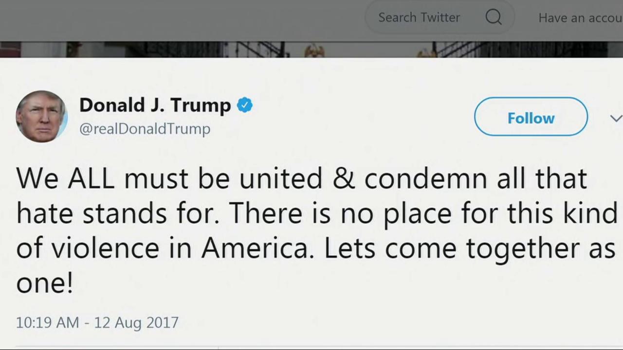 Trump Tweets Response To Virginia Riots