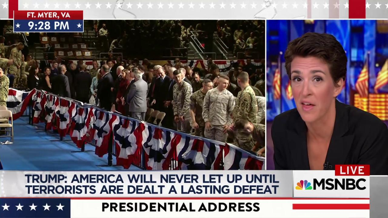Maddow highlights Trump Afghanistan speech