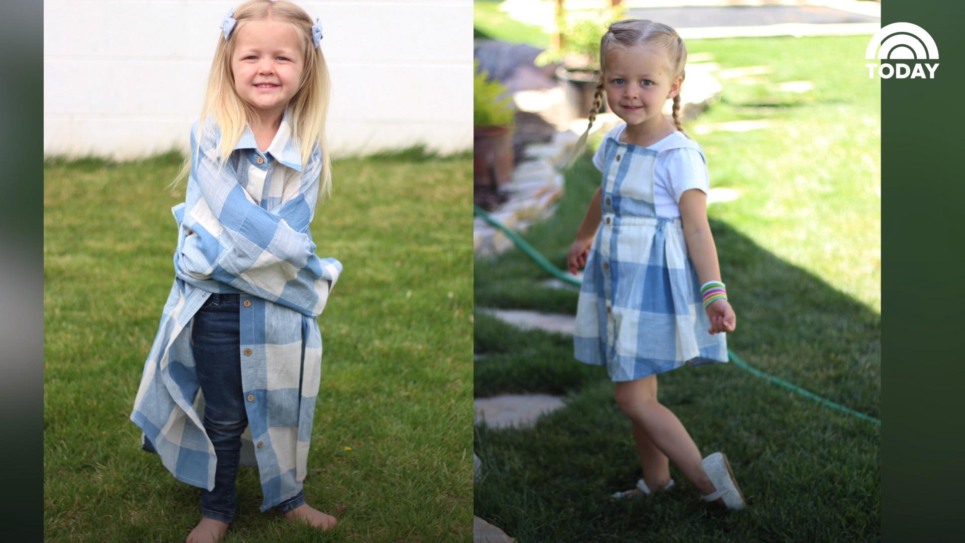 Mom turns husband s shirts into adorable outfits for daughters