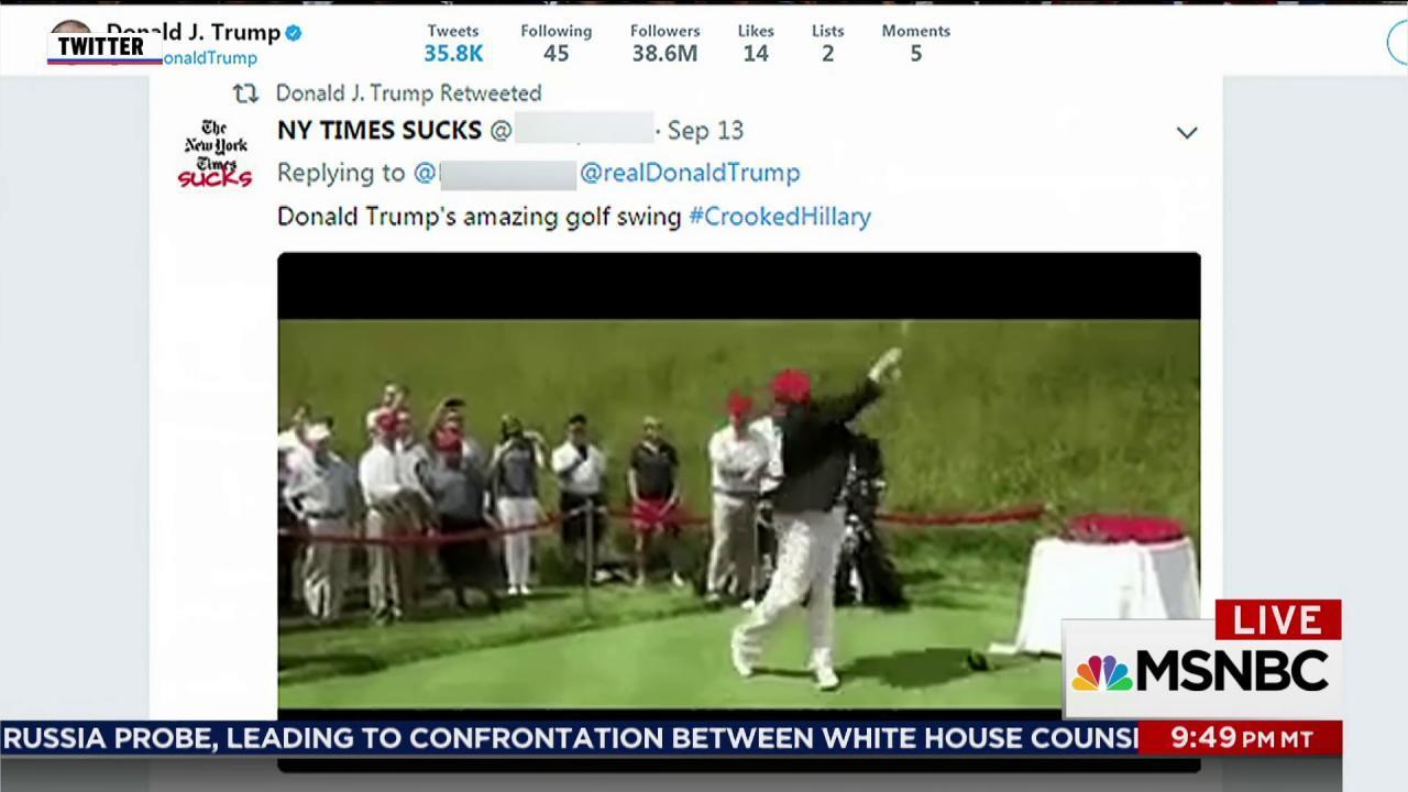 Trump retweets video of himself hitting...