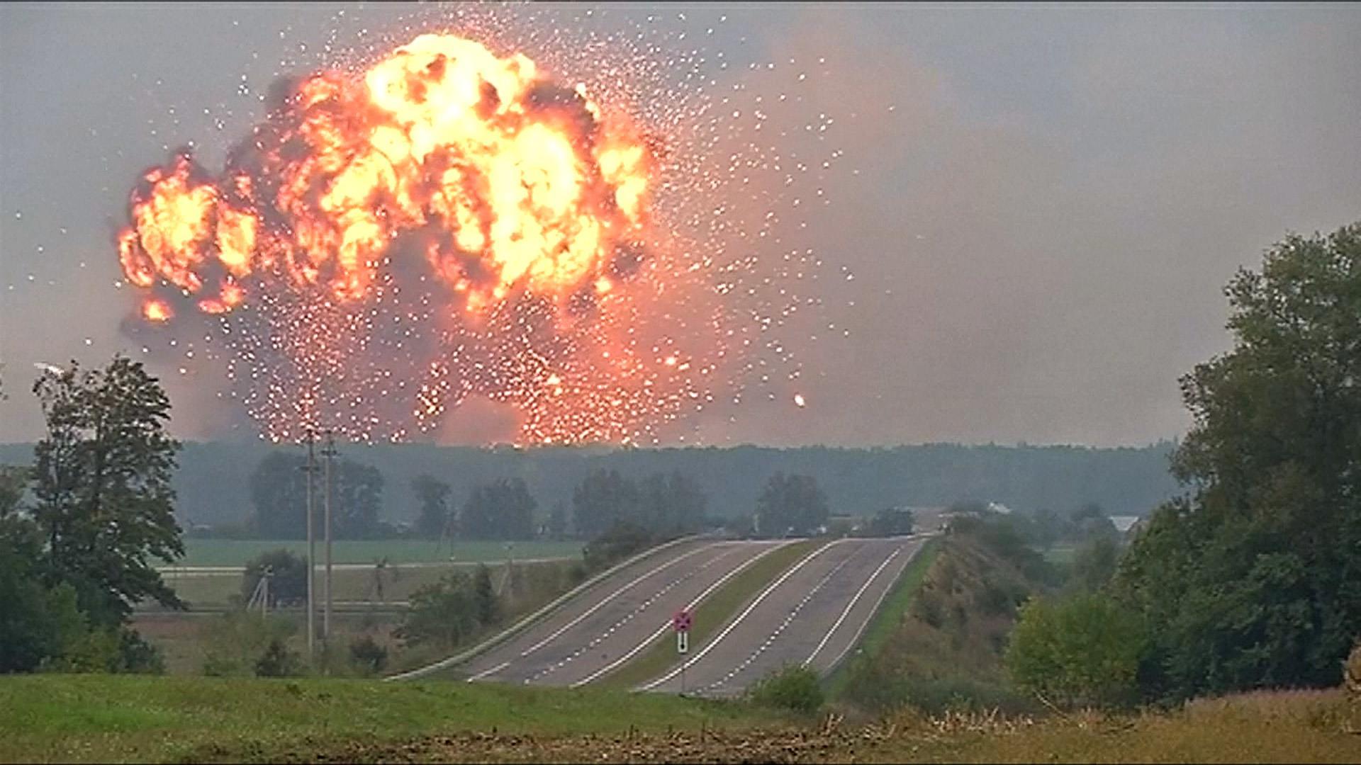 Ammunition depot explodes at military base in Kalynivka, Ukraine